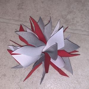 Other - Red, white & Gray Hair bow